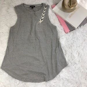 Express striped tank top white and black size M